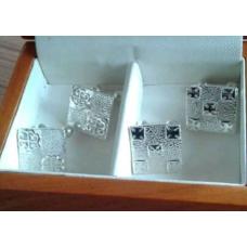 Double Pair of Ghanaian Adinkra Symbolised Sterling Silver Cufflinks